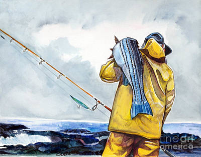Sea Bass Painting - Surf Fishing by Dave Olsen