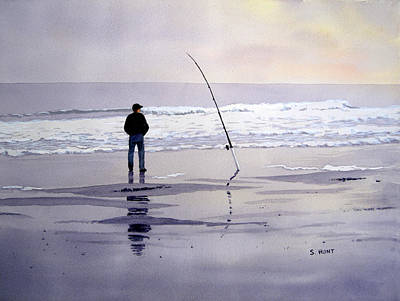 North Sea Painting - Surf Fishing by Shirley Braithwaite Hunt