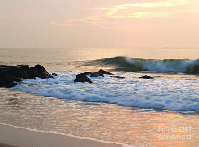 Surf In Peachy Ocean Grove Sunrise Art Print by Anna Lisa Yoder