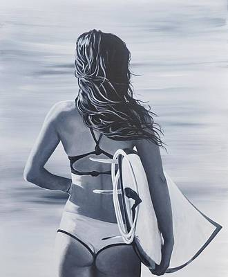 Surfer Girl Painting - Surf Lessons by Jessi Smith