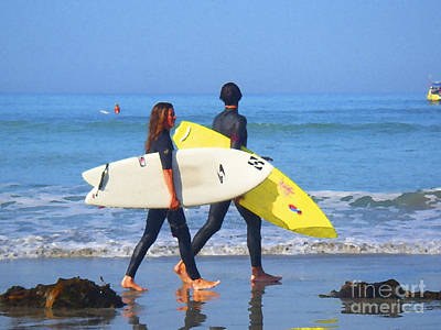 Surf Lifestyle Digital Art - Surf Mates by Waterdancer