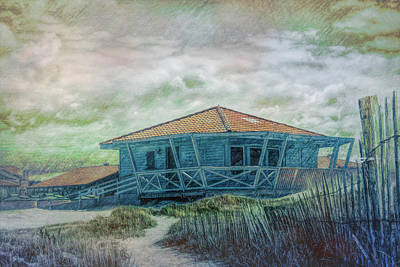 Photograph - Surf Shack In The Dunes Painting by Debra and Dave Vanderlaan