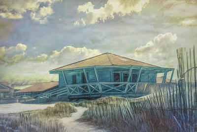 Photograph - Surf Shack In The Dunes Watercolor Painting by Debra and Dave Vanderlaan