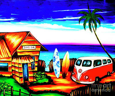 Fidelity Painting - Surf Shack Red, The Bali Collection by Jeffery Waz