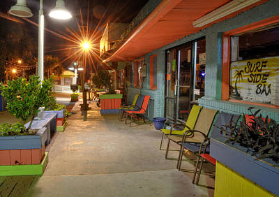 Orange Photograph - Surf Side Bar At Night by Greg Mimbs