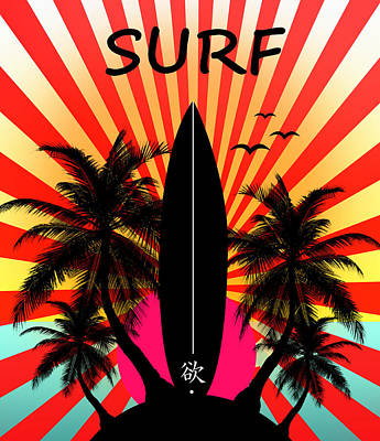 Summer Fun Painting - Surfboard by Mark Ashkenazi