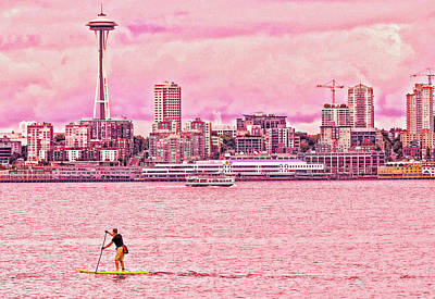 Photograph - Surfboard Surfer - Elliot Bay by Allen Beatty