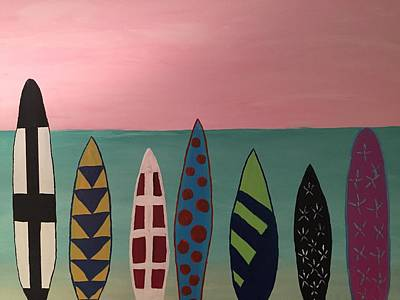 Painting - Surfboards At On Beach by Paula Brown