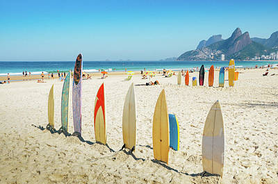 Surfboards On Ipanema Beach, Rio De Janeiro Art Print
