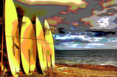 Mixed Media - Surfboards On The Beach by Charles Shoup