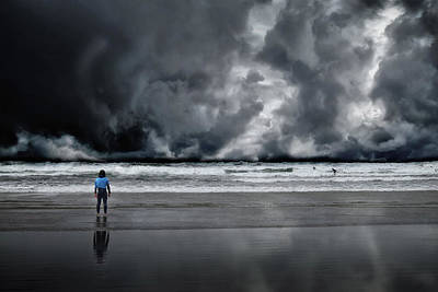 Digital Art - Surfer And An Angry Sky by John Carver
