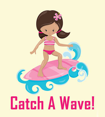 Digital Art - Surfer Art Catch A Wave Girl With Surfboard #19 by Life Over Here