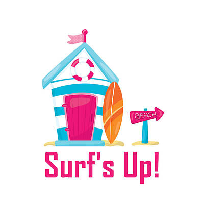 Digital Art - Surfer Art - Surf's Up Cabana House To The Beach by Life Over Here