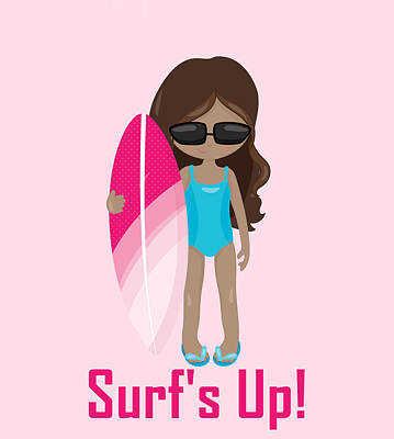 Digital Art - Surfer Art Surf's Up Girl With Surfboard #16 by KayeCee Spain