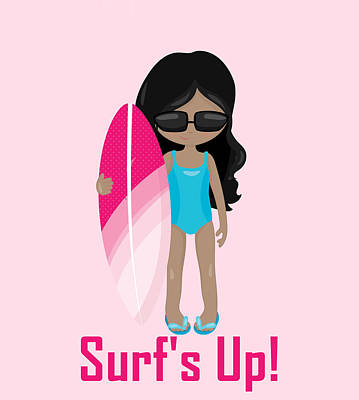 Digital Art - Surfer Art Surf's Up Girl With Surfboard #17 by KayeCee Spain