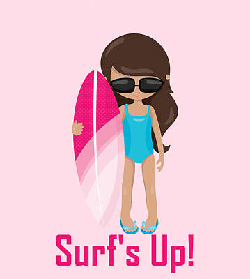 Digital Art - Surfer Art Surf's Up Girl With Surfboard #18 by KayeCee Spain