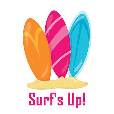Digital Art - Surfer Art - Surf's Up Surfboards by Life Over Here