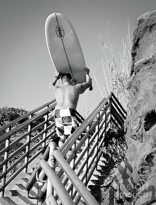 Photograph - Surfer Ascending Stairs, San Diego, California  -74698-bw by John Bald