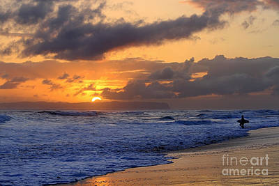 Surfer At Sunset On Kauai Beach With Niihau On Horizon Art Print by Catherine Sherman
