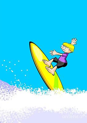 Surfer Boy Riding On The Waves Art Print