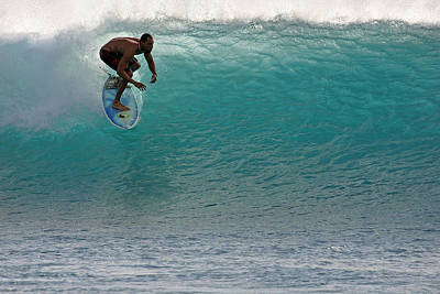 Photograph - Surfer Dropping In The Blue Waves At Dumps Maui Hawaii by Pierre Leclerc Photography