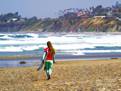Digital Art - Surfer Girl At Seaside, Ca by Waterdancer
