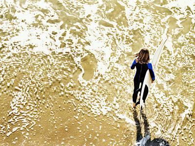 Surfer Girl At Swami's  Art Print
