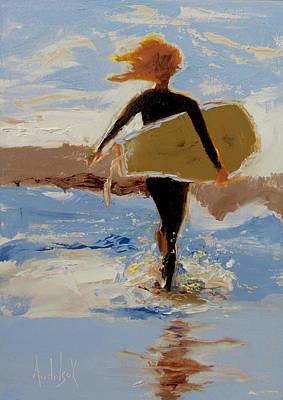 Surfer Girl Art Print by Barbara Andolsek