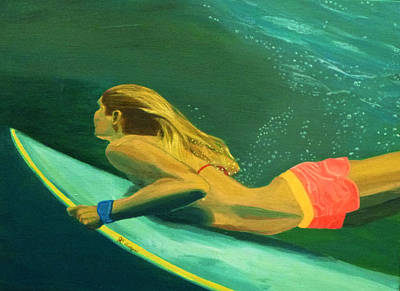 Painting - Surfer Girl Duck Dive by Jennifer Lindquist