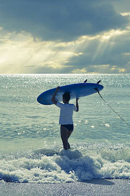 Sunrise At The Beach Photograph - Surfer Girl by Laura Fasulo