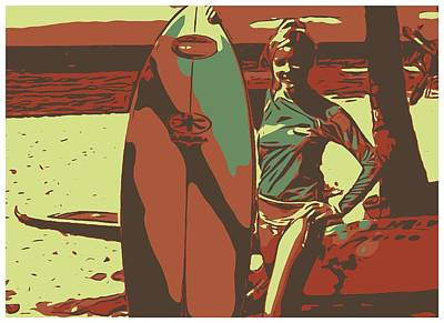 Swimsuit Mixed Media - Surfer Girl by Ryan Fox