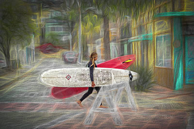 Photograph - Surfer Girl Walking by Bill Posner