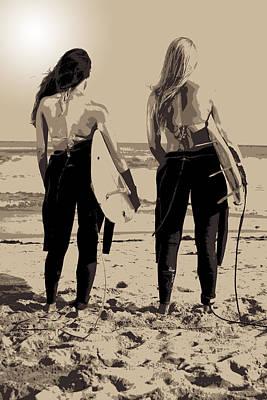 Abstract Seascape Digital Art - Surfer Girls by Brad Scott