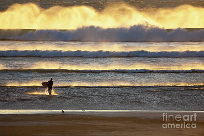 Photograph - Surfer Heads Into The Waves And Mist by Sharon Foelz