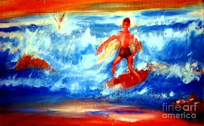 Surfer In Monterey Art Print by Stanley Morganstein