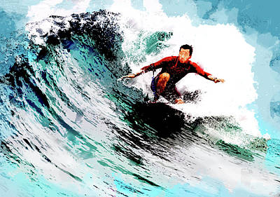 Catch A Wave Painting - Surfer In The Ocean Curl by Elaine Plesser