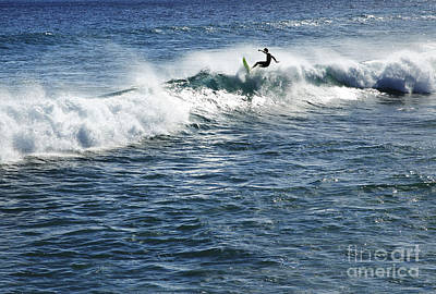 Surfer Riding A Wave Art Print