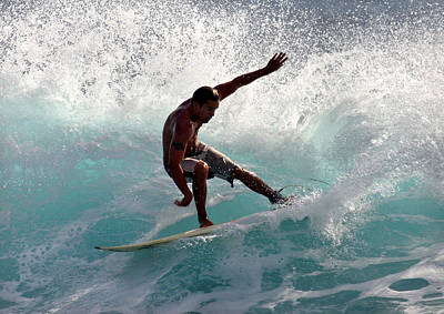 Photograph - Surfer Slashing The Blue Waves At Dumps Maui Hawaii by Pierre Leclerc Photography
