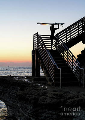 Photograph - Surfer, Sunset Cliffs, San Diego, California  -74759 by John Bald