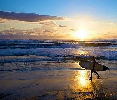 Surfer Sunset Art Print by Deborah Rosier