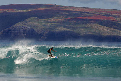 Photograph - Surfer Surfing The Blue Waves At Dumps Maui Hawaii by Pierre Leclerc Photography