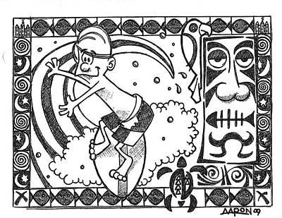 Surfer Toon 2 Art Print by Aaron Bodtcher
