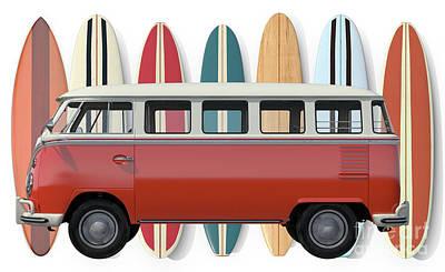 Digital Art - Surfer Van Tee by Edward Fielding