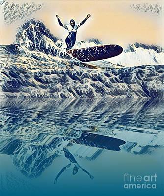 Australia Digital Art - Surfer Waves by Victor Arriaga