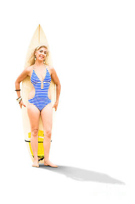 One Piece Swimsuit Photograph - Surfer With Surf Board by Jorgo Photography - Wall Art Gallery