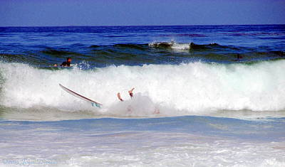 Photograph - Surfers At Asilomar State Beach Three Oopsy Daisy by Joyce Dickens