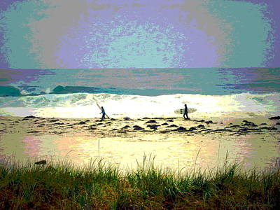 Photograph - Surfers At Asilomar State Beach Watercolor by Joyce Dickens