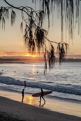 Photograph - Surfers At Main Beach Noosa by Robert Munden
