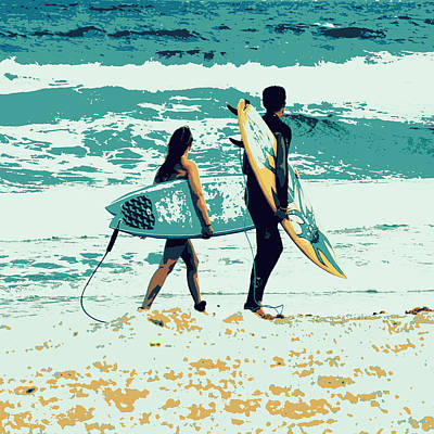 Surfboards Mixed Media - Surfers by Brandi Fitzgerald