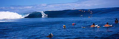 Balance Of Nature Photograph - Surfers In The Sea, Tahiti, French by Panoramic Images